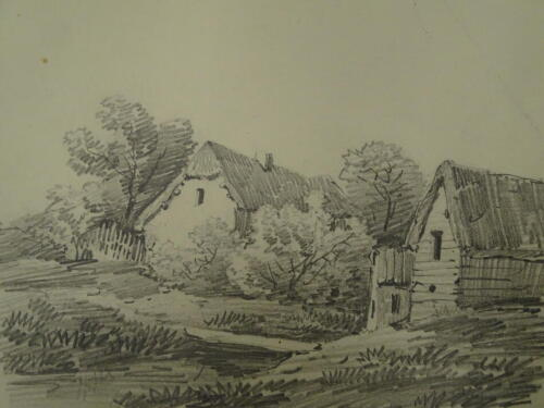 Thomas Sidney Cooper RA (1803-1902). Landscape with cottage and barns, pencil sketch, 16cm x 20cm. A lesson to D W Coit. c1829. Provenance: Goodacre Collection No 312.