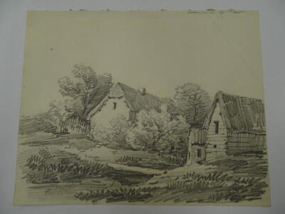 Thomas Sidney Cooper RA (1803-1902). Landscape with cottage and barns, pencil sketch, 16cm x 20cm. A lesson to D W Coit. c1829. Provenance: Goodacre Collection No 312. - 2