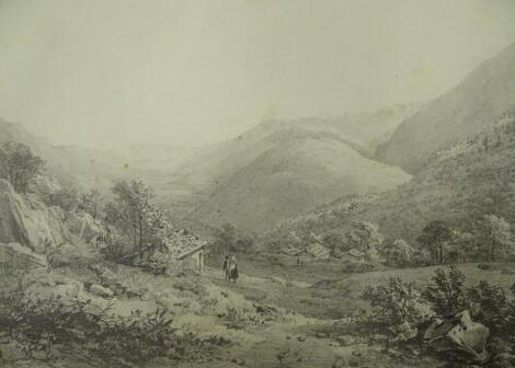 Thomas Sidney Cooper RA (1803-1902). Mountainous Landscape with figures, pencil sketch, 17.5cm x 24cm. After D W Coit. Provenance: Goodacre Collection No 321.