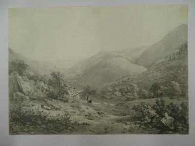 Thomas Sidney Cooper RA (1803-1902). Mountainous Landscape with figures, pencil sketch, 17.5cm x 24cm. After D W Coit. Provenance: Goodacre Collection No 321. - 2