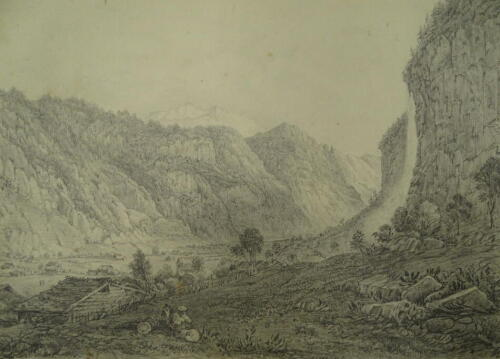 """D W Coit. Inscribed """"Valley of Lauterbrun grey sketch 1830"""", 20cm x 25cm. Provenance: Goodacre Collection No 322."""