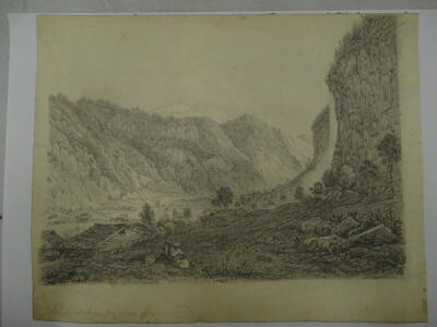 """D W Coit. Inscribed """"Valley of Lauterbrun grey sketch 1830"""", 20cm x 25cm. Provenance: Goodacre Collection No 322. - 2"""