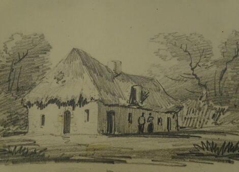 Thomas Sidney Cooper RA (1803-1902). Lesson for D W Coit. Cottage in landscape. Pencil sketch, 14.5cm x 19cm. Provenance: Goodacre Collection No 325.