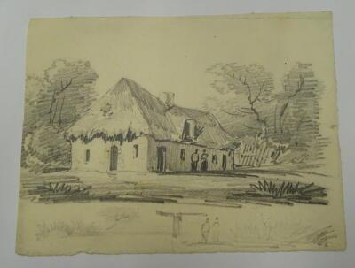 Thomas Sidney Cooper RA (1803-1902). Lesson for D W Coit. Cottage in landscape. Pencil sketch, 14.5cm x 19cm. Provenance: Goodacre Collection No 325. - 2