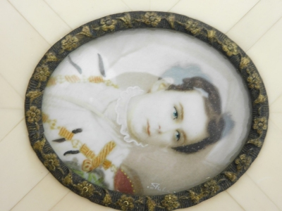A late 19thC portrait miniature of a military gentleman, depicting a man in dress uniform possibly Ludwig II of Bavaria, signed Silas?, 3.5cm x 4.5cm, in a metal oval frame with applied floral decoration and ivory panelled border, with newspaper article b - 5