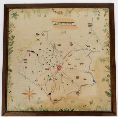 A late 20thC embroidered map of Leicestershire dated 1965, depicting various lions, animals and flowers, in a oak frame, 62.5cm x 62cm. - 2