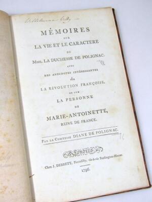 Polignac (Diane de) Memoires sur la vie et le character de… chromolithographed frontispiece, tissue guard, contemporary calf, spine gilt, 8 volumes, 1796. - 3