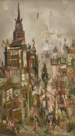 Trevor Lawrence. Street scene, oil on canvas, signed, 69.5cm x 39.5cm.
