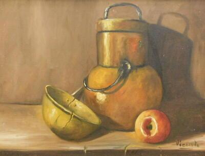 Vicente. Still life, oil on canvas, signed, 48.5cm x 63cm. Label verso, Croydon Galleries.