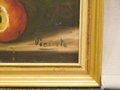 Vicente. Still life, oil on canvas, signed, 48.5cm x 63cm. Label verso, Croydon Galleries. - 3