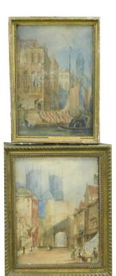 19thC English School. A view of York Minster through the stone gateway and Shambles with figures and a companion picture of a Venetian scene with boats and figures, watercolours, 27cm x 21cm and 27cm x 18cm respectively. - 4