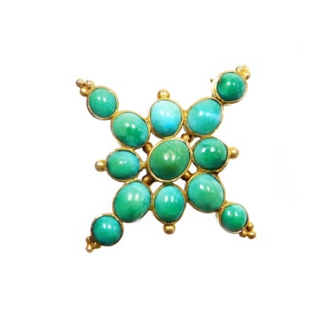 A Victorian turquoise set cross brooch, the design with various oval and circular cut turquoise stones, in a rub over yellow metal setting, unmarked with a single pin back, 4cm wide, 6.2g all in.
