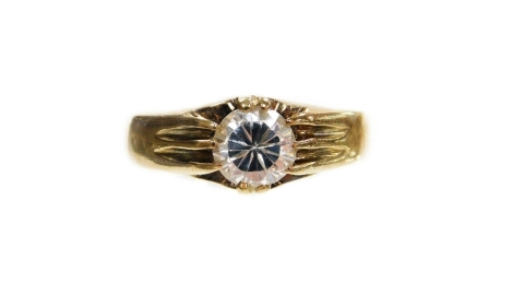 A 9ct gold solitaire ring, set with an imitation diamond, in claw setting, ring size R½, 4.9g all in.