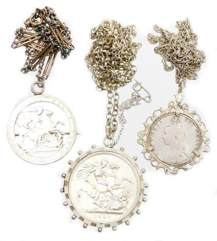 A group of silver and other coin related jewellery, to include a Victorian 1889 silver crown, in a silver plated mount, with sterling silver rope twist chain, the chain 50cm long, a silver 1889 coin sovereign type pendant, in a silver pendant mount on cur