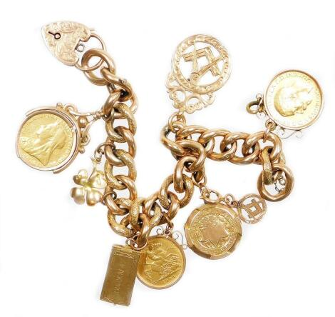 A 9ct gold charm bracelet, with various charms including a George V full gold sovereign dated 1912 in a 9ct gold pendant mount, a Victorian full gold sovereign dated 1899 in a 9ct gold pendant mount, an Edward VII half gold sovereign dated 1904 in 9ct pen