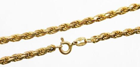 A 9ct gold rope twist necklace, 50cm long, 19.2g.