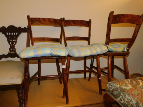 A set of three 19thC beech and elm kitchen chairs.