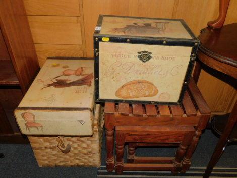 Two painted boxes, a rush covered chest and a nest of Mango wood tables. (4)