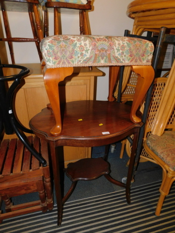 An Edwardian occasional table, 74cm high, 73cm wide, 54cm deep., together with a foot stool with cabriole legs, 45cm high. (2)