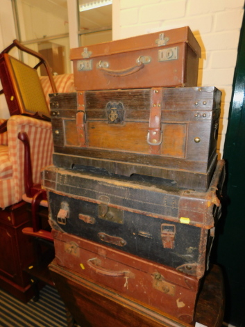 A canvas and leather bound trunk, two suitcases and a reproduction chest. (4)