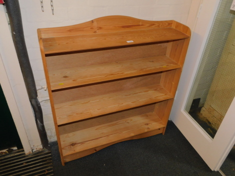 A pine bookcase, enclosing two fixed shelves, 98cm high, 92cm wide, 22cm wide.