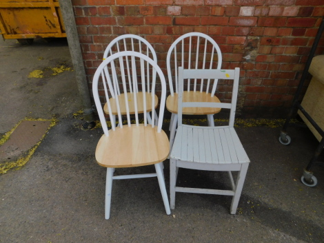 A set of three white painted kitchen chairs, together with an additional painted chair. (4)