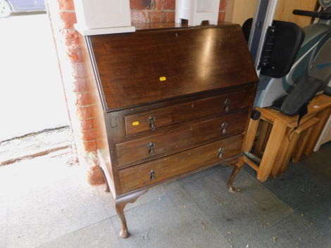 An early 20thC mahogany bureau, with fitted interior, 99cm high, 76cm wide, 41cm deep.
