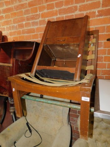 A 1960's lounge chair frame, stamped Cornwell Norton, Model N10/11, together with an Art Deco style bedside cabinet, (2)