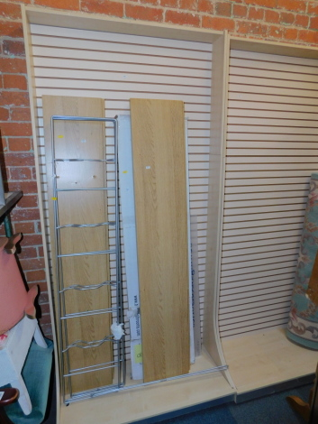 A pair of shop display stands, together with two metal hanging rails and various commercial shelving, etc. (a quantity)