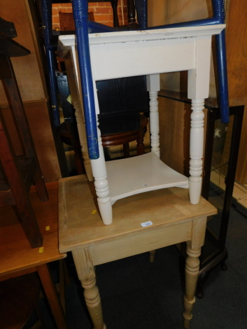 A Victorian pine scrub top side table, 74cm high, 58cm wide, 52cm deep., together with a painted pine side table, 59cm high, 46cm wide, 45cm deep. (2)