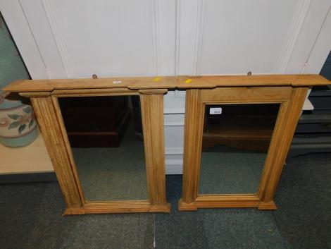 A near pair of pine pier mirrors, both 60cm x 50cm.