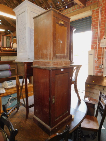 An Edwardian mahogany Maple & Co pot cupboard, 80cm high, 41cm wide, 37cm deep, together with a pine coal purdonium, 58cm high, 34cm wide, 33cm deep. (2)