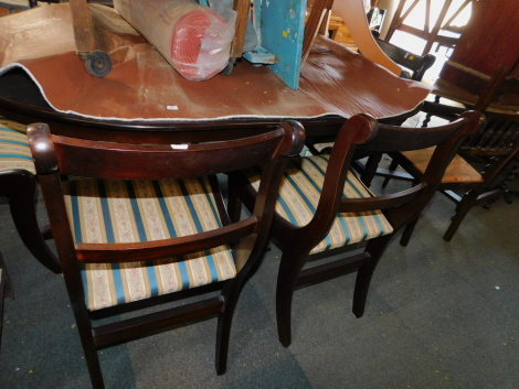 A reproduction mahogany pedestal dining table, 76cm high, 158cm wide, 215cm extended, 101cm deep, with six matching chairs, including two carvers. (7) The upholstery in this lot does not comply with the 1988 (Fire & Fire Furnishing) Regulations, unless so