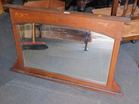 An Edwardian mahogany over mantel mirror, with floral inlay and bevel plate, 84cm x 104cm.