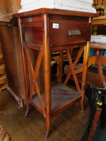 A mango wood X frame side table, with single drawer, 81cm high, 46cm wide, 35cm deep.