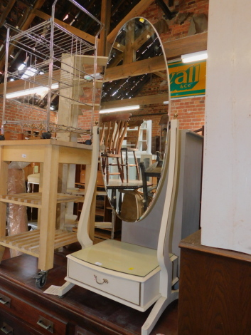 A cream painted French style cheval mirror, with lower drawer, 147cm high.