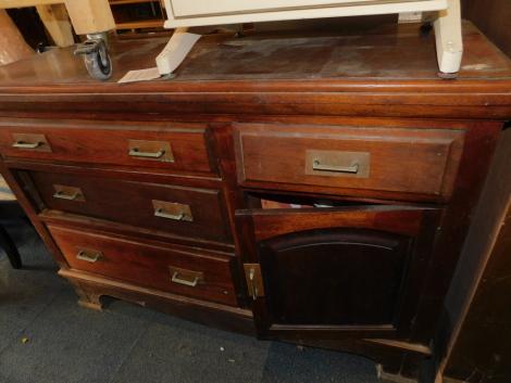 A Victorian walnut sideboard, with single door, four drawers, raised on bracket feet, 97cm high, 139cm wide, 50cm deep. (AF)