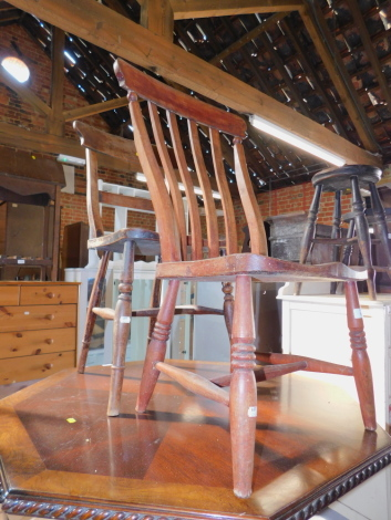 A 19thC kitchen chair, together with another 19thC chair. (2)