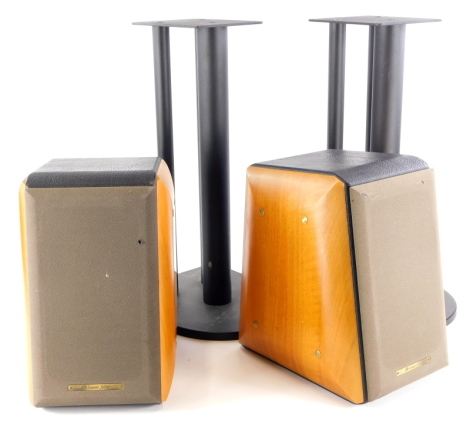 A pair of Sonus Faber Concertino Home speakers, with hardwood cases, numbered 4267 (AF), and a pair of metal speaker stands, with speakers 32cm high.