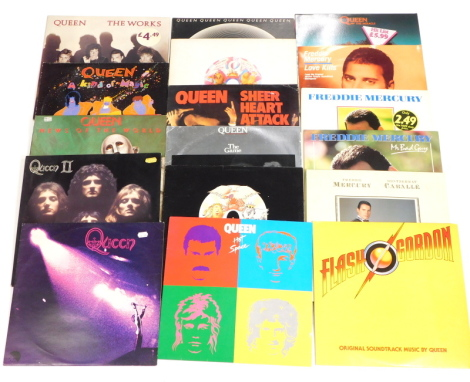 A collection of Queen and Freddie Mercury albums and singles, to include Love Kills, I Was Born to Love You, A Kind of Magic, News of the World, Queen, Queen II, Mr Bad Guy, The Works, Barcelona, Hot Space, A Day at the Races, A Night at the Opera, Flash