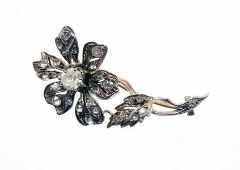 A Victorian silver and paste stone set floral spray brooch, in silver gilt finish, unmarked, 4.5cm high.