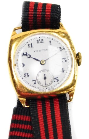 A 9ct gold Vertex gent's wristwatch, with a circular white enamel dial, seconds dial, on a later material bracelet, the watch inscribed 'Presented to Oscar Wilde by William Gossage & Sons Ltd, for good service 1921-1936', with loose front face and glass,