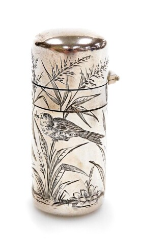 A Victorian silver perfume bottle, by Sampson Mordan & Co, engraved with flowers and reeds, London 1881, lacking stopper, 5cm.