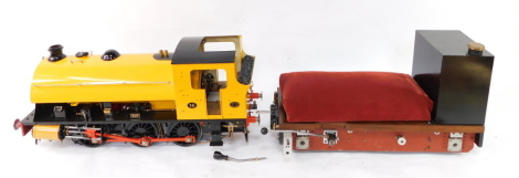 A scratch built Hawthorn Leslie tank locomotive ALF 0-6-0ST, and ride on tender, yellow livery, No 16, with bespoke carry case for engine, 35cm high, 155cm wide, 24cm deep, tank locomotive 84cm long.