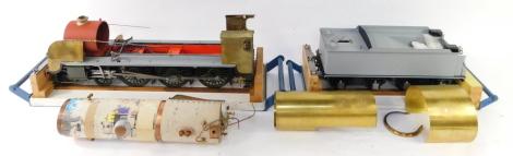 "A scratch built 3 1/2"" gauge part built King Arthur Class locomotive, 4-6-0, and tender, with bespoke carry cases, 24cm high, 133cm wide, 17cm deep."