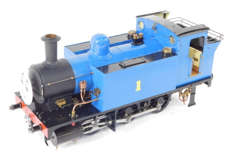 A scratch built 3 1/2 gauge Thomas The Tank Engine, 0-6-0ST, blue livery, No 1, Isle of Sodor Railway, with bespoke carry case, 23cm high, 55cm wide, 18cm deep.