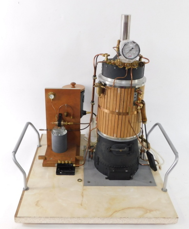 A scratch built steam vertical boiler, 80psi, model no 120964, on a bespoke base with carrying handles, 67cm high.