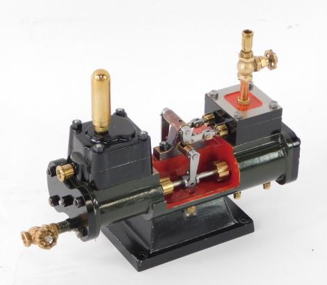 A scratch built steam boiler feed pump, possibly Stuart Turner, 15.5cm wide.