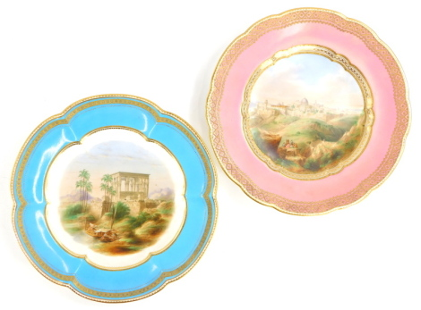 A pair of Victorian porcelain plates, each painted with an extensive Middle Eastern landscape titled Pharaoh's Bed and Jerusalem, (AF), possibly Minton, 24cm diameter.