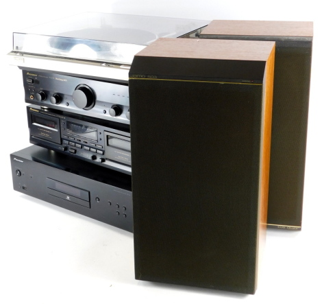 A quantity of vintage hi-fi equipment, to include a Technics Quartz SL-Q200 turntable, a Pioneer double tape deck, a Pioneer CD player PD-10 and a Pioneer stereo amplifier A-209R Direct Energy MOS, some accessories and a pair of Jamo 503 speakers.